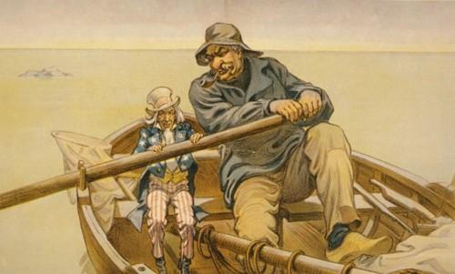 Карикатура – Джон Пирпонт Морган-старший помогает правительству США выплыть из кризиса