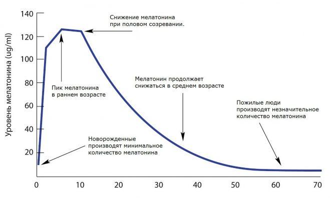 выработка мелатонина с возрастом снижается